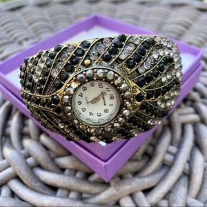 Gorgeous Crystal Encrusted Statement Cuff Watch